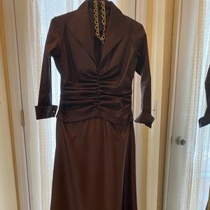 LONG CHOCOLATE BROWN EVENING GOWN